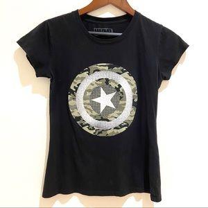 ☀️3/$15 Captain America Marvel tshirt camouflage